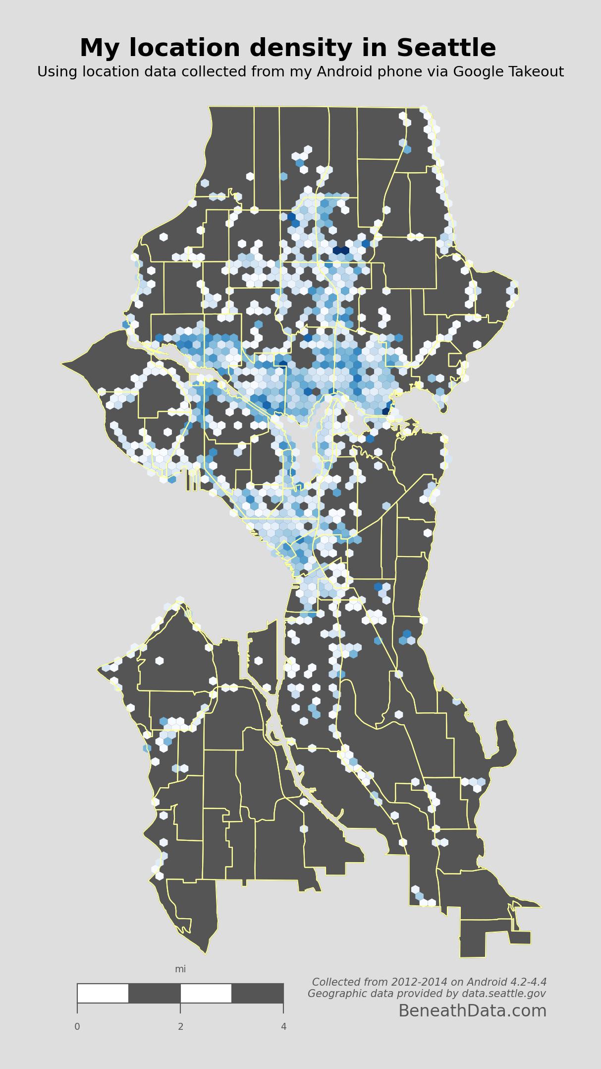 Visualizing My Location History with Python Shapely and Basemap